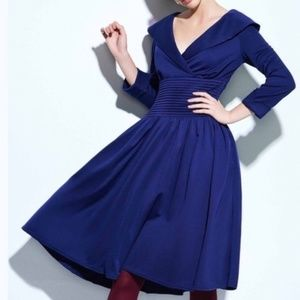 Collared Vintage Style Blue Rockabilly PinUp Dress